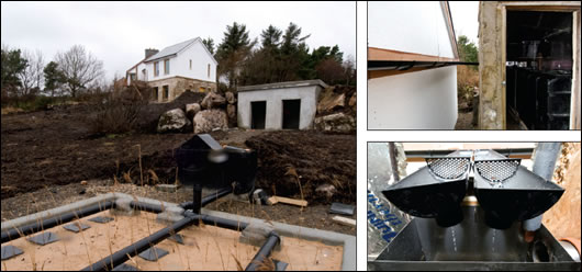 (above left) Wastewater will be treated by a reed bed system  designed by Ollan Herr; (above right) rainwater will be collected by  existing gutters on the old house that feed directly into the tanks in  the adjacent shed
