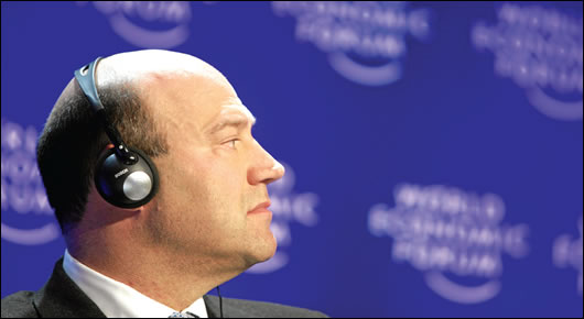 Such is its interest in the area that Goldman Sachs' chief operating officer, Gary Cohn – pictured here at the 'Managing Global Risks' session at the World Economic Forum meeting in Davos, in January 2009 – has visited Athens twice since November to pitch debt products, and has met the Greek prime minister, George Papandreou