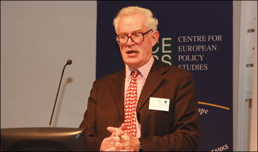 While David McWilliams (above) has proposed that we leave the euro, others such as Prof Charles Goodhart (below), of the London School of Economics, point out that this would cause an immediate banking crisis