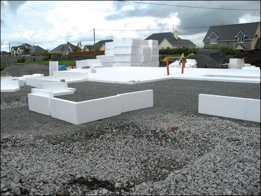 Installation of the Viking House polystyrene foundation system
