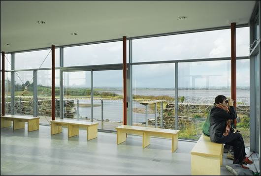 Iinternal view of the pavilion with vistas out to the reserve and Strangford Lough