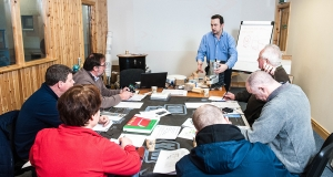 Ecological Building Systems trainer Darren O'Gorman delivering the company's first passive house building envelope specialist training course in Athboy, Co Meath