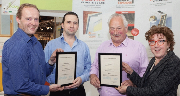 Pictured (l-r) are judges chair Gary Mongey of Box Architecture, Ecological's Darren O'Gorman and Peter Smith, judge Maria Kearney of Kearney Kiernan Architects