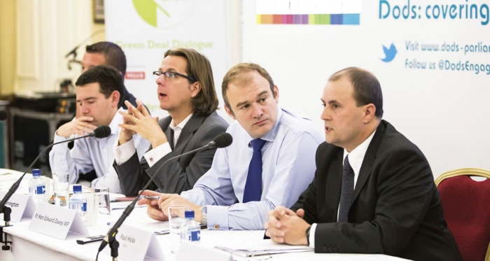 Pictured (l-r) are Glass & Glazing Federation deputy CEO Giles Wilson; Simon Wright MP; Guardian head of environment Damian Carrington; energy & climate change minister Ed Davey; and Velux design manager Paul Hicks