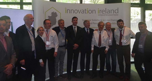 Passive House Institute founder Prof Wolfgang Feist with representatives of the Enterprise Ireland-led cluster of low energy and passive house companies at the Aachen conference