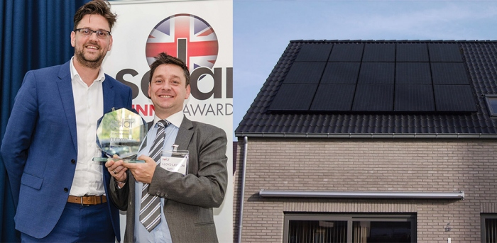 Pictured with the Solar UK innovation award are Autarco CEO Roel van den Berg and sales director Lloyd Lawson; a carefully designed Autarco PV array