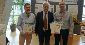 Pictured at the International Passive House Conference are (l-r) ProAir MD David McHugh, Passive House Institute founder Prof Wolfgang Feist and Smartply innovation manager David Murray, who also received passive house certification