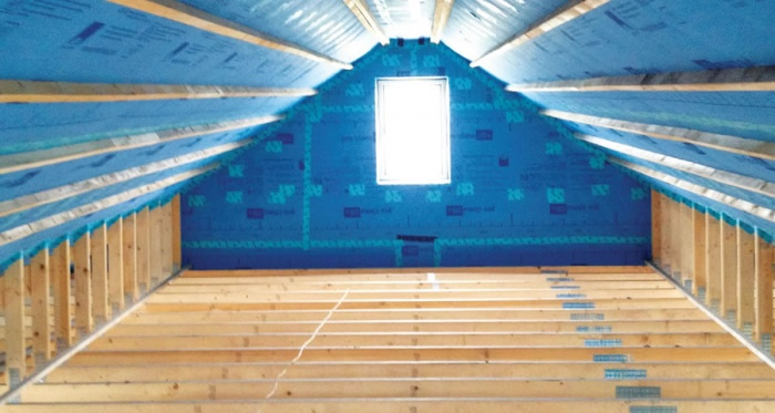 Meticulous airtightness installation at the QE Homes build in Kinvarra, Co Galway. The house has clocked an impressive airtightness test result of 0.52 air changes per hour at 50 Pascals