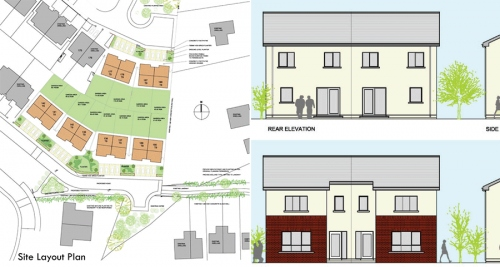 Site plan and elevation views of Michael Bennett's low cost passive house scheme at Madeira Oaks, Co. Wexford