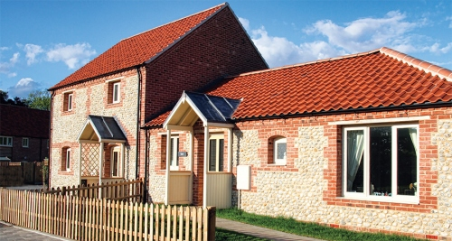 Passive fishermen's cottages on Norfolk coast