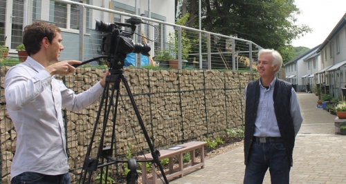 Ben Adam-Smith interviewing Andrew Yeats of Eco Arc at the Lancaster Cohousing passive house development in Lancashire