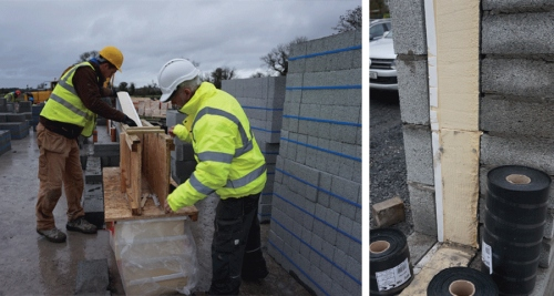 Pat Doran working with a blocklayer to cut cavity insulation to ensure thermal performance isn't undermined by inaccurate installation