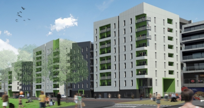 Graphic impression of the Carrow Quay development in Norwich, set to be the UK's largest passive scheme