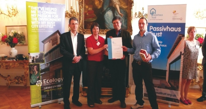Presentation of the award for private housing to the Totnes passive house