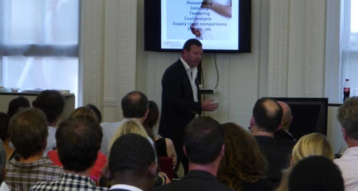 Optiwin's Conor Ryan speaking at an Advantage Austria event in London in June on passive house and low carbon building