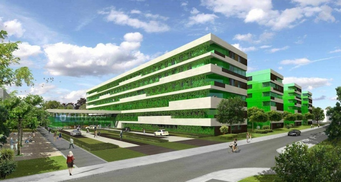 Rendering of the proposed new passive house hospital in Frankfurt