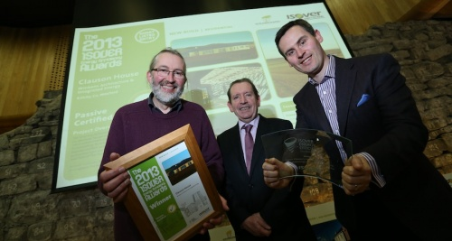 Isover's Brian Dolan (centre) with award winners Zeno Winkens (left) and Archie O'Donnell of Integrated Energy (right)