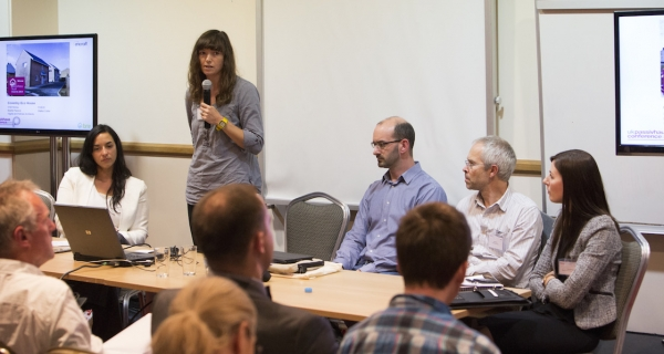 Encraft's head of building physics Helen Brown, pictured speaking at the 2014 UK Passivhaus Conference