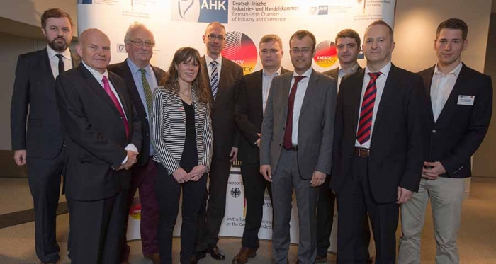Pictured at the showcase are (l-r) Passive House Plus editor Jeff Colley; German Irish Chamber of Industry & Commerce CEO Ralf Lissek; Ecological Building Systems' Peter Smith; German Irish Chamber head of marketing Aideen Keenan;  German Federal Ministry of Economic Affairs and Energy'sReinhard Giese; Kinviro director Frank Daly; Frenger Systeme BV's Dr Klaus Menge; Senertec's Markus Mueltner; Origen's business development manager Kevin Devine; and the Passive House Institute's Adrian  Muskatewitz