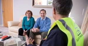 A SuperHomes engineer goes through the retrofit options with a couple in Co. Tipperary