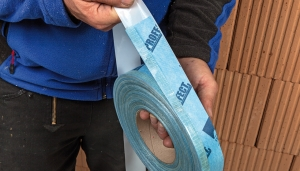 Tescon Profect, a pre-folded, plasterable airtight tape