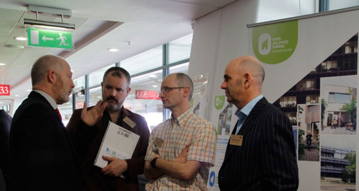 (l-r) Pictured at the 2013 Better Building conference are SEAI's Kevin O'Rourke, architect Joseph Little, airtightness consultant Gavin O'Sé and energy consultant Michael Hanratty
