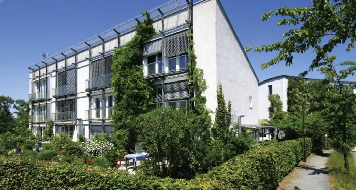 One of the first passive house buildings in Darmstadt, Germany
